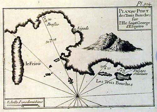 SOLD Plan du Port des Trois Bouches sur l'isle Saint George d'esquiro