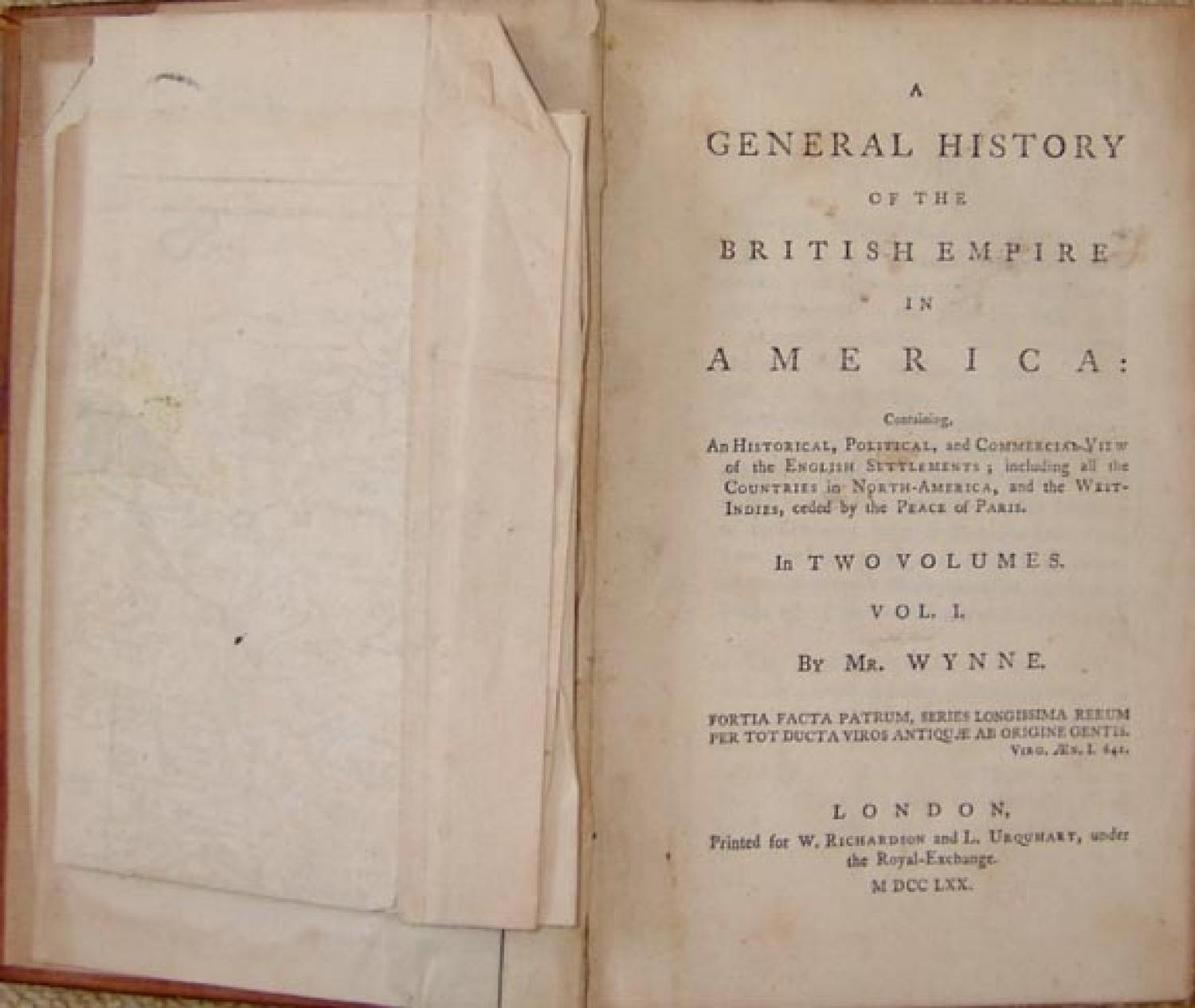 SOLD A General History of the British Empire in America