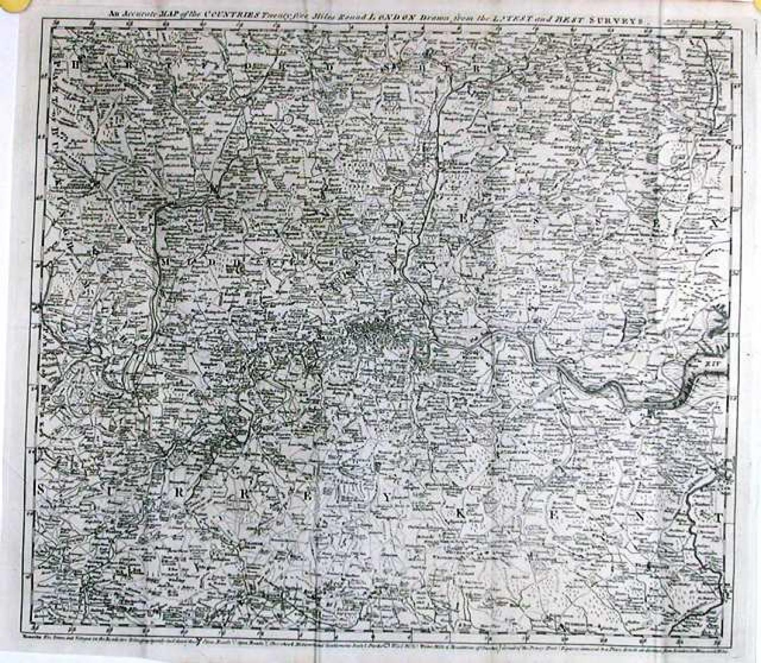 SOLD An accurate map of the counties twenty five miles round London