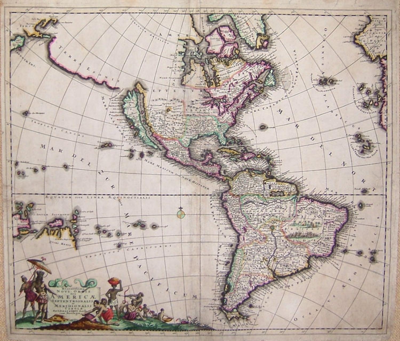 SOLD Recentissima Novi Orbis Sive Americae Septentrionalis et Meridionalis Tabula.