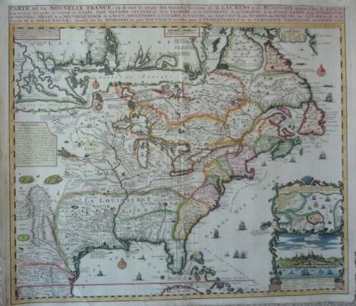 SOLD Carte de la Nouvelle France, où se voit le cours des Grandes Rivières de S. Laurens & de Mississipi