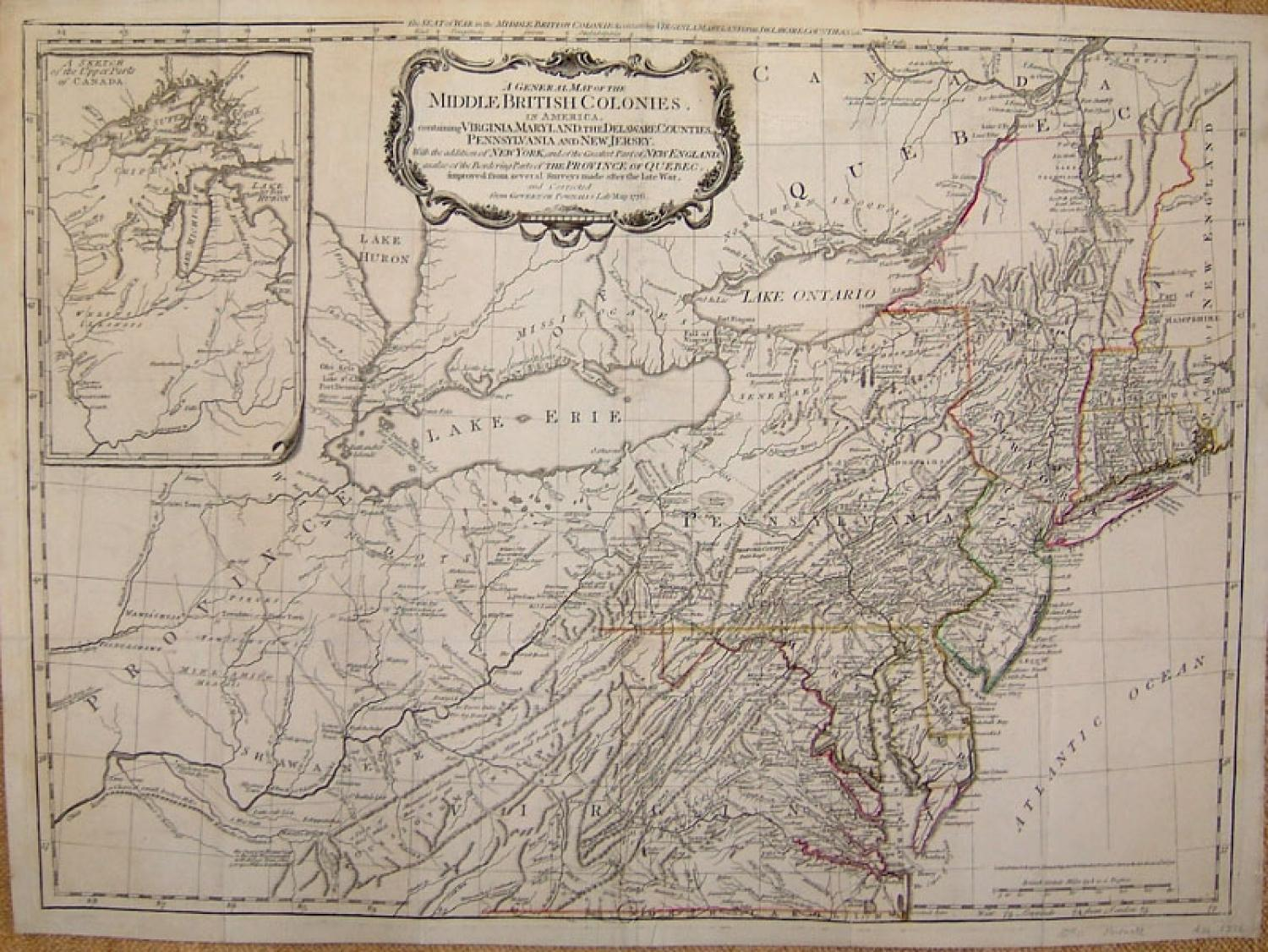 SOLD A general map of the middle British colonies in America