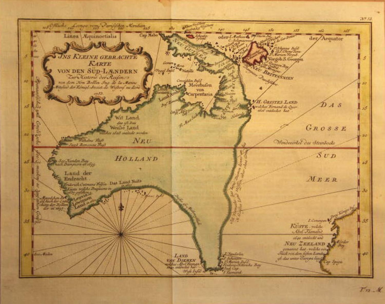 SOLD Ins Kleine Gebrachte Karte von den Sud-Laendern zur Histoire der Reisen