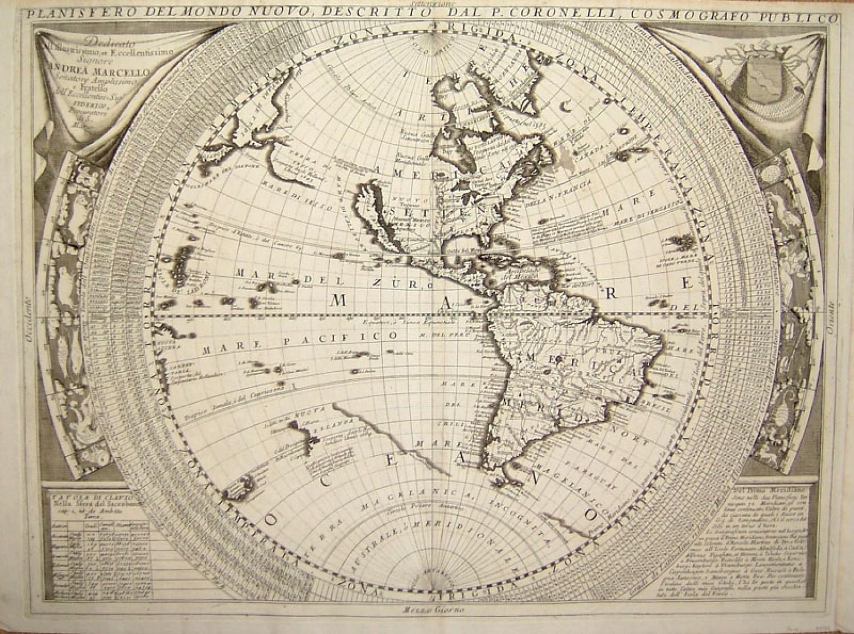 SOLD Planisfero del Mondo Nuovo...Planisfero del Mondo Vecchio