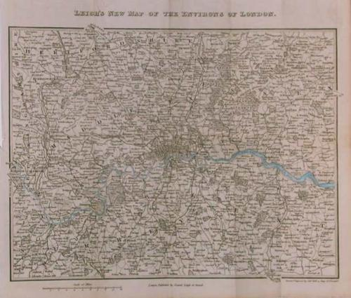 SOLD Leigh's New Map of the Environs of London