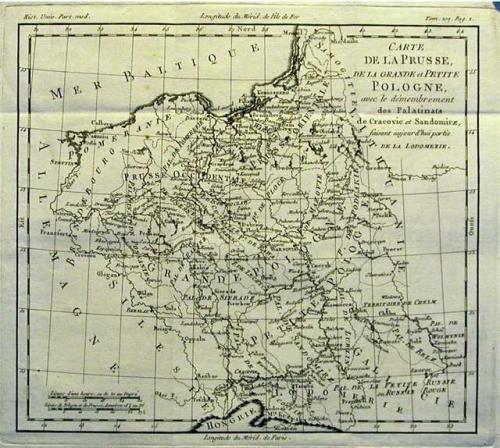 SOLD Carte de la Prusse, de la Grande et Petite Pologne