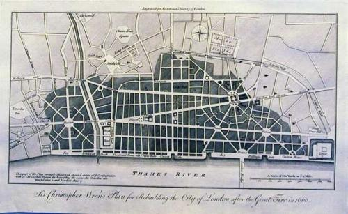 SOLD Sir Christopher Wren's plan for rebuilding the City of London after the great fire in 1666