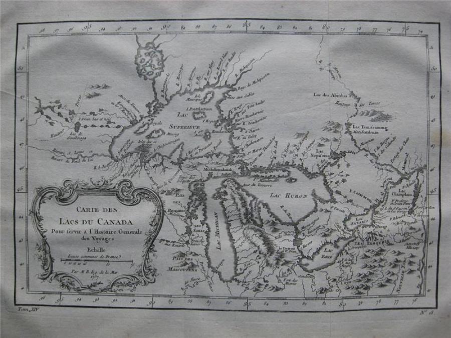 Bellin - Carte des Lacs du Canada