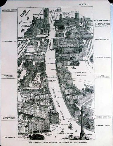 SOLD London in 1887, Plate I, From Charing Cross through Whitehall to Westminster