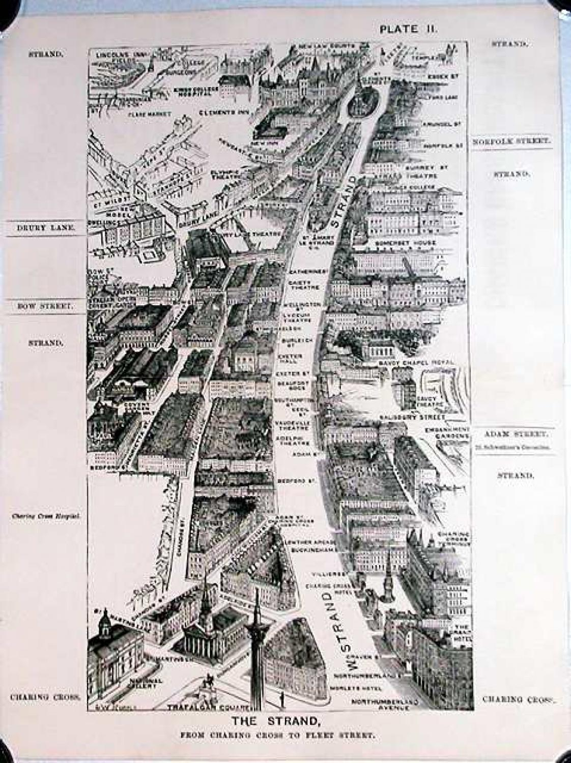 SOLD London in 1887, Plate II, The Strand, from Charing Cross to Fleet Street