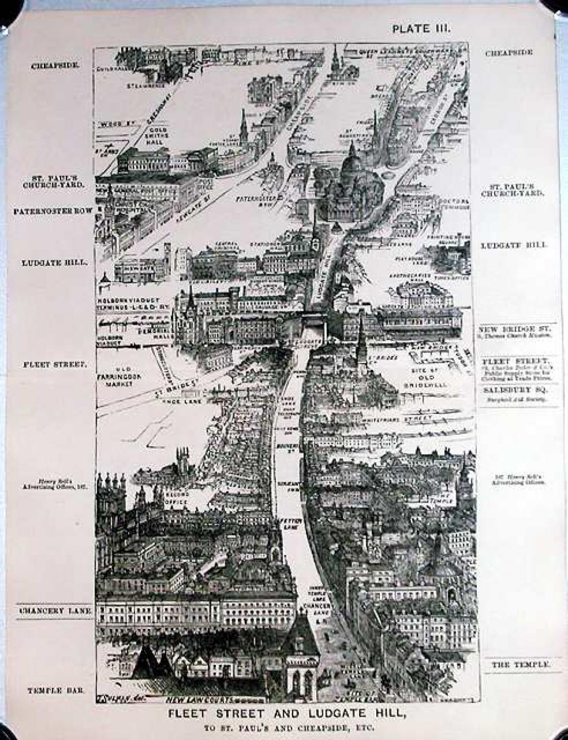 SOLD London in 1887, Plate III, Fleet Street and Ludgate Hill, to St. Paul's and Cheapside, etc.