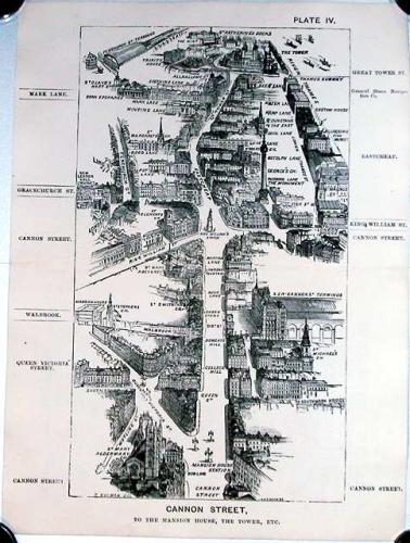 SOLD London in 1887, Plate IV, Cannon Street, to the Mansion House, the Tower, etc.