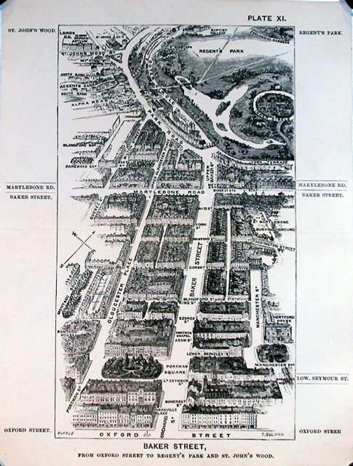 SOLD London in 1887, Plate XI, Baker Street, from Oxford Street to Regent's Park at St. John's Wood