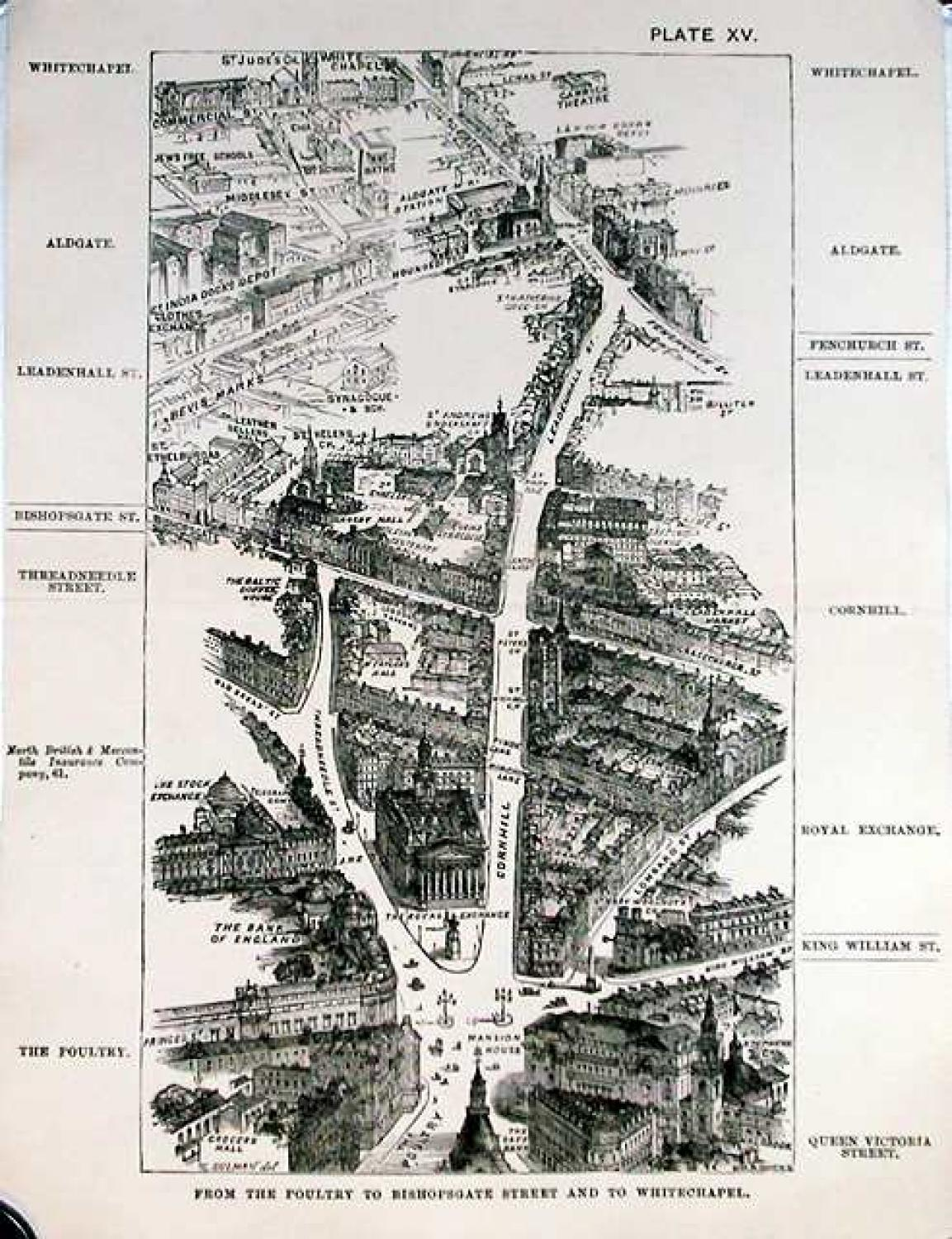SOLD London in 1887, Plate XV, From Poultry to Bishopsgate Street and to Whitechapel