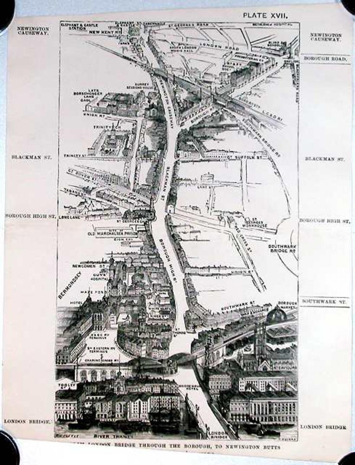 SOLD London in 1887, Plate XVII, From London Bridge through the Borough to Newington Butts
