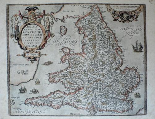 SOLD Angliae Regni flo: rentissimi nova descriptio, auctore Humfredo Lhuyd
