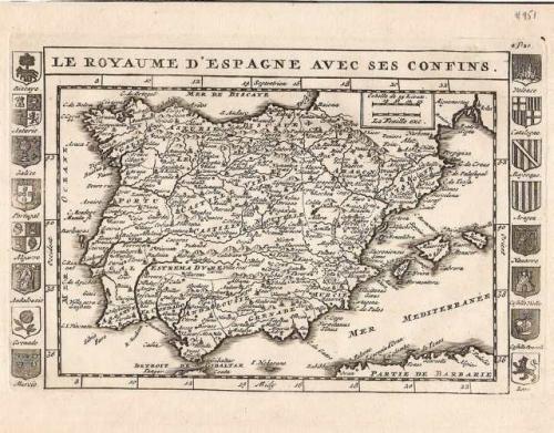 SOLD Le Royaume d'Espagne avec ses confins.