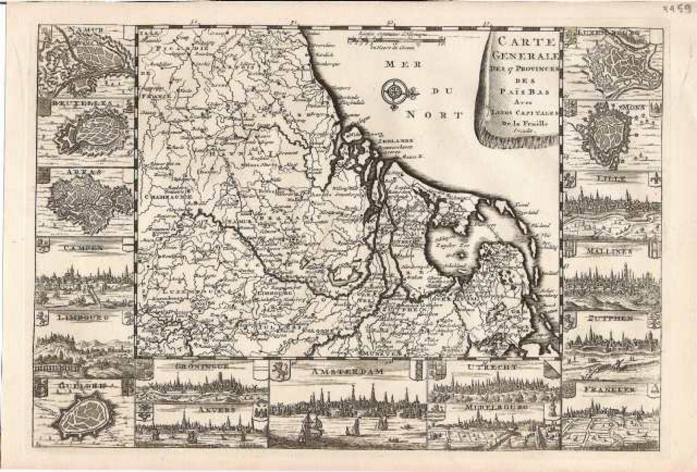SOLD Carte Generale des 17 Provinces des Pays Bas avec leurs Capitales
