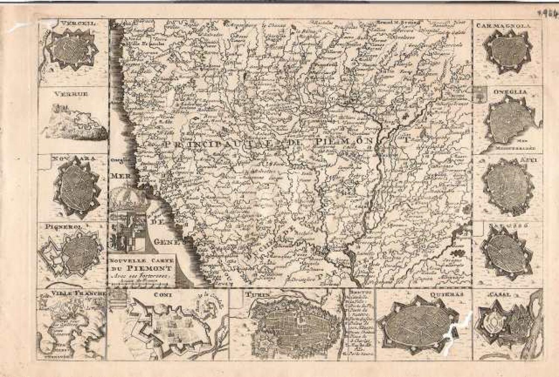 SOLD Nouvelle Carte du Piemont avec ses forteresse