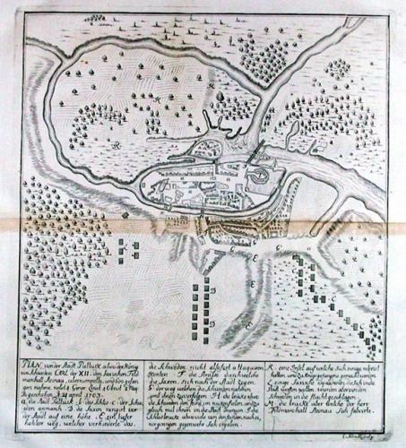 SOLD Plan von der stadt Pultusk / 1703