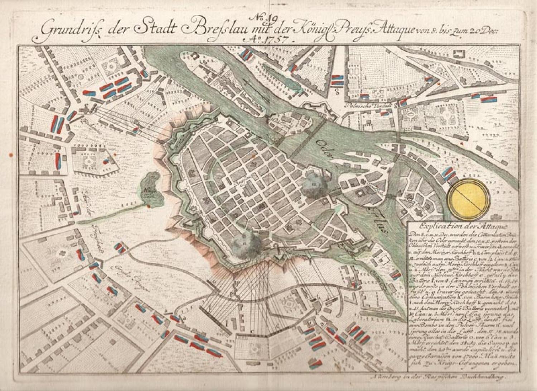 SOLD Grundriss der Stadt Bresslau ... 1757