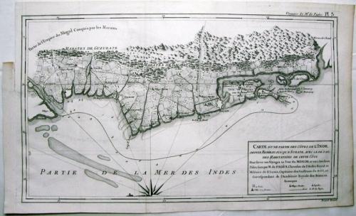 SOLD Carte d'une partie des cotes de l'Inde, depuis Bombay