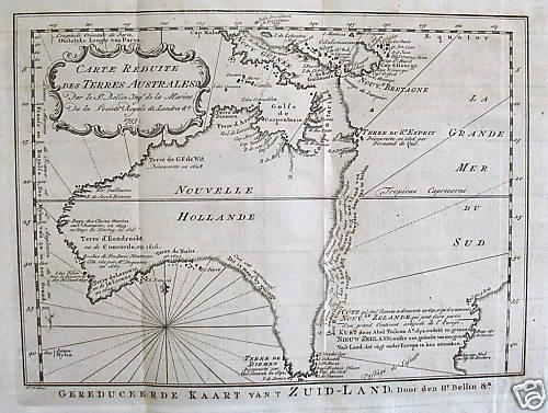 SOLD Carte reduite des Terres Australes par le Sr. Bellin