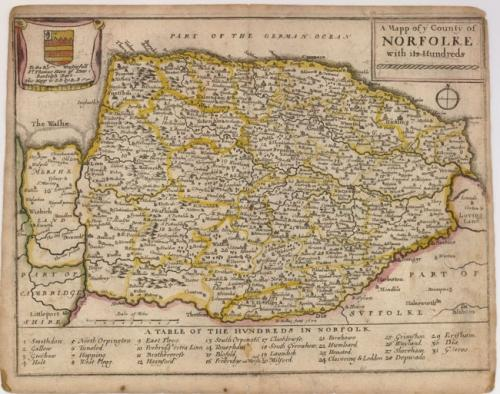 Blome - A Mapp of ye County of Norfolke