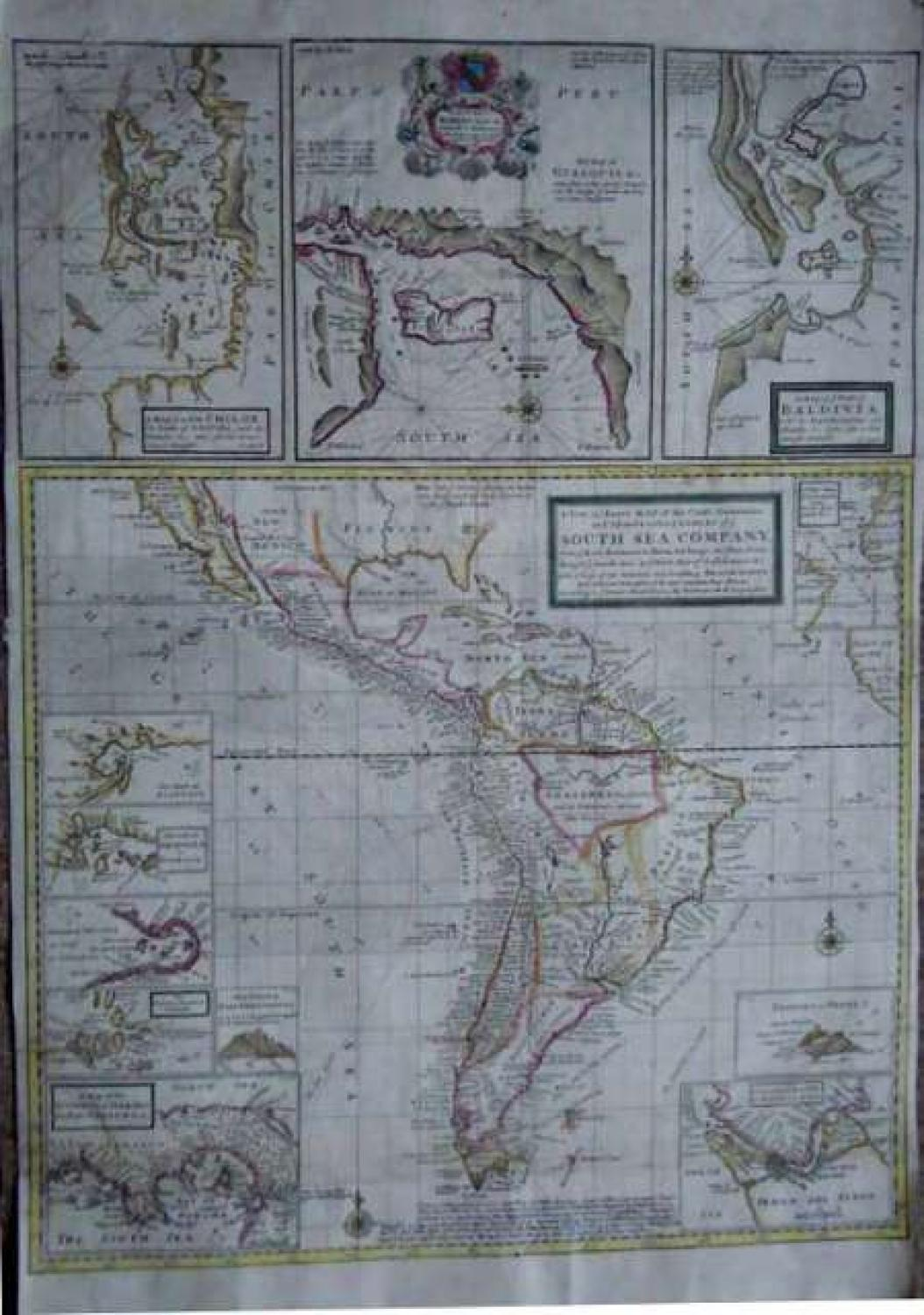 SOLD A New & Exact Map of the Coast, Countries and Islands within ye Limits of ye South Sea Company