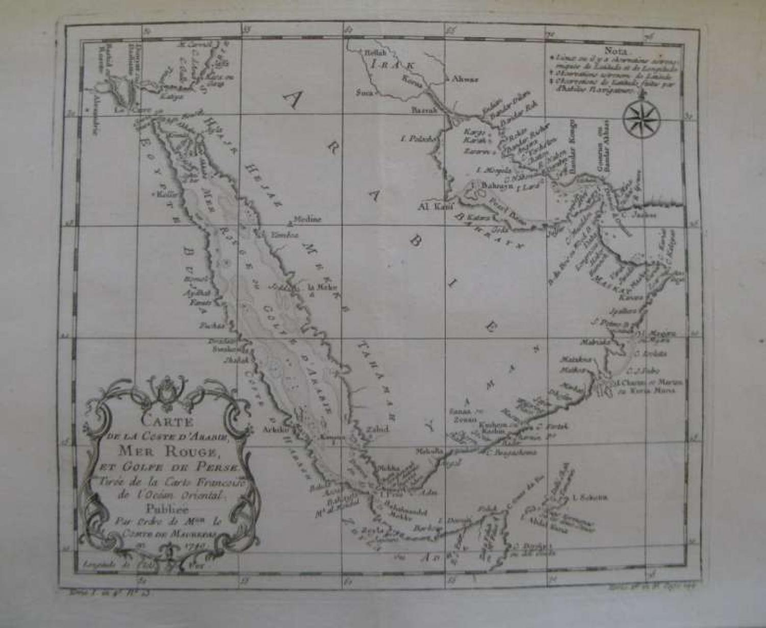 Bellin - Carte de la Coste d'Arabie,