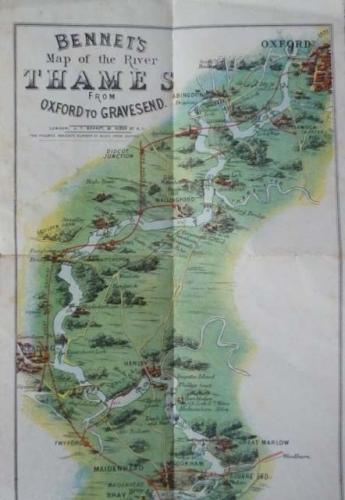 SOLD Bennet's Large Colour Map of the River Thames from Oxford to Gravesend