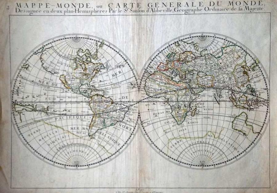 Sanson - Mappe-Monde, Carte Generale du Monde