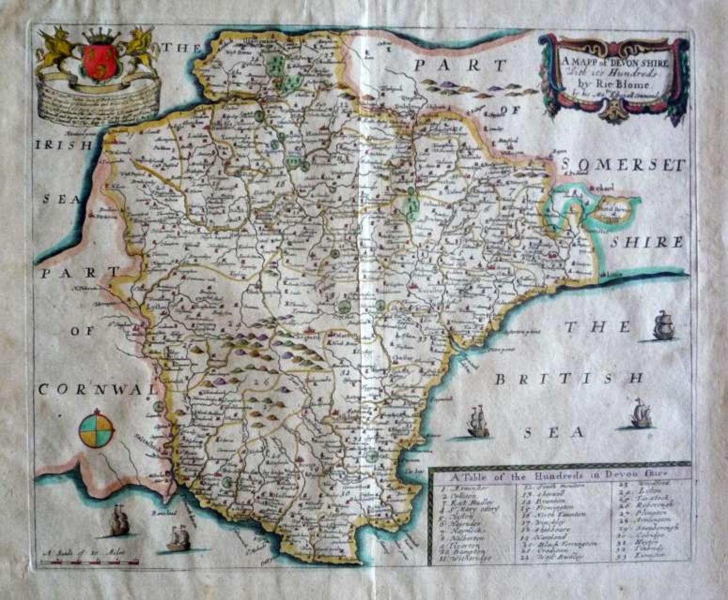 Blome A Mapp of Devon-Shire with its Hundreds
