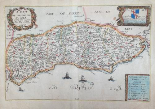 Blome - A Mapp of the County of Sussex