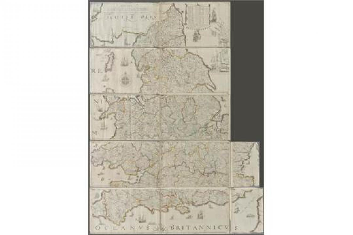 Saxton / Lea - England & Wales wall map secti
