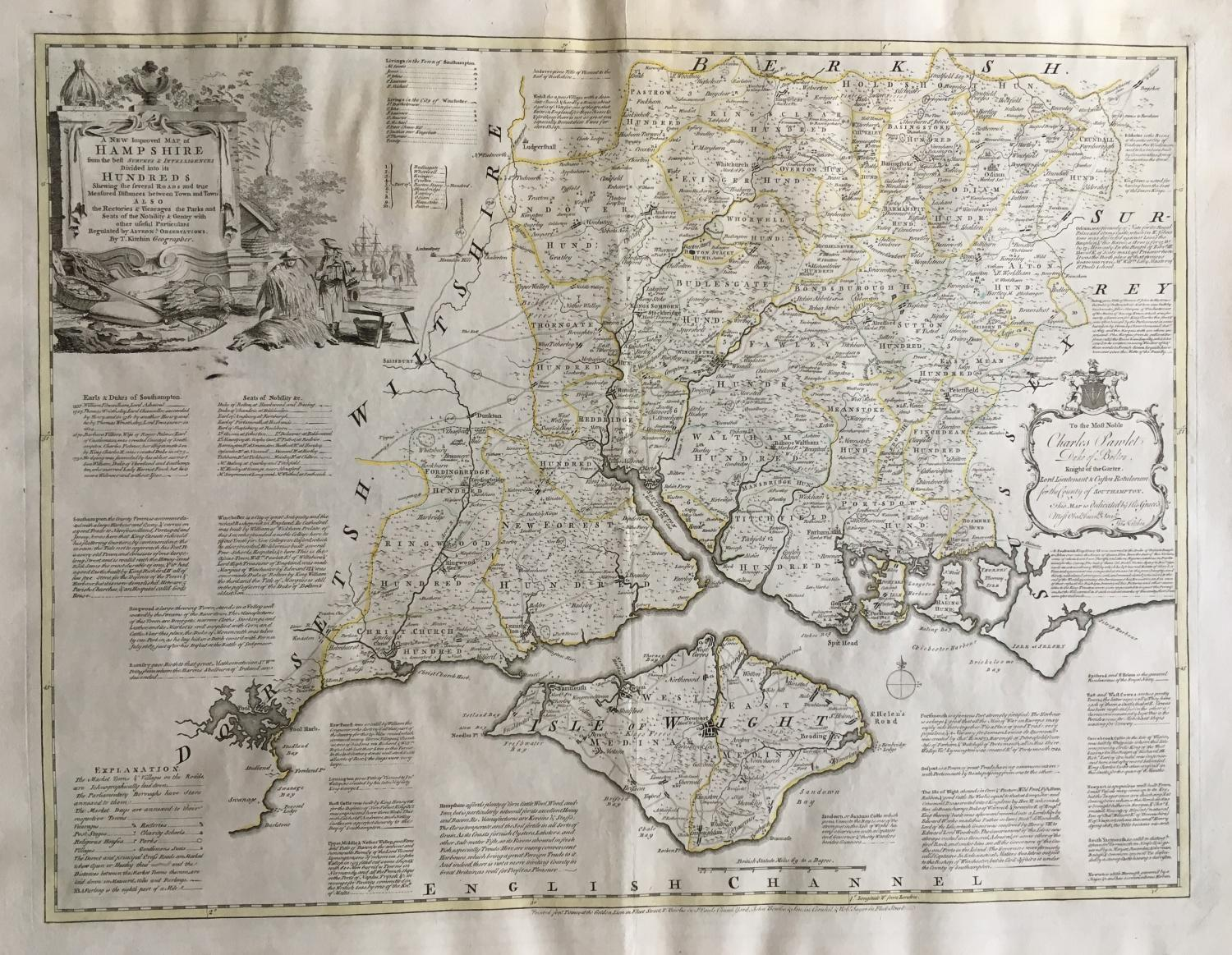 Kitchin - A New & Improved Map of Hampshire