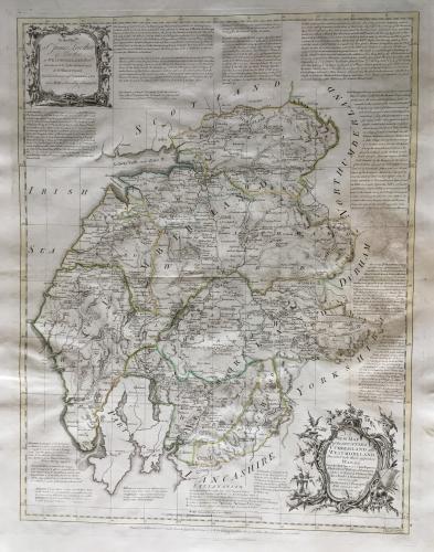Bowen - A New Map of Cumberland / Westmorelan