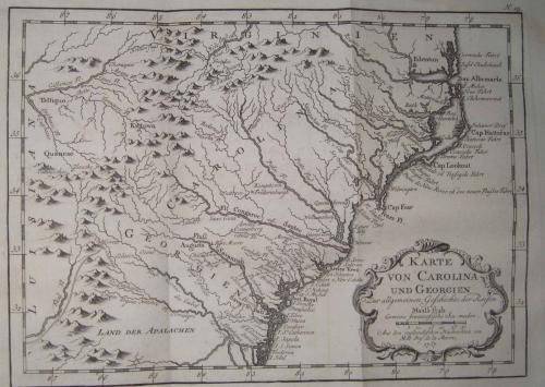 Bellin - Karte von Carolina und Georgien