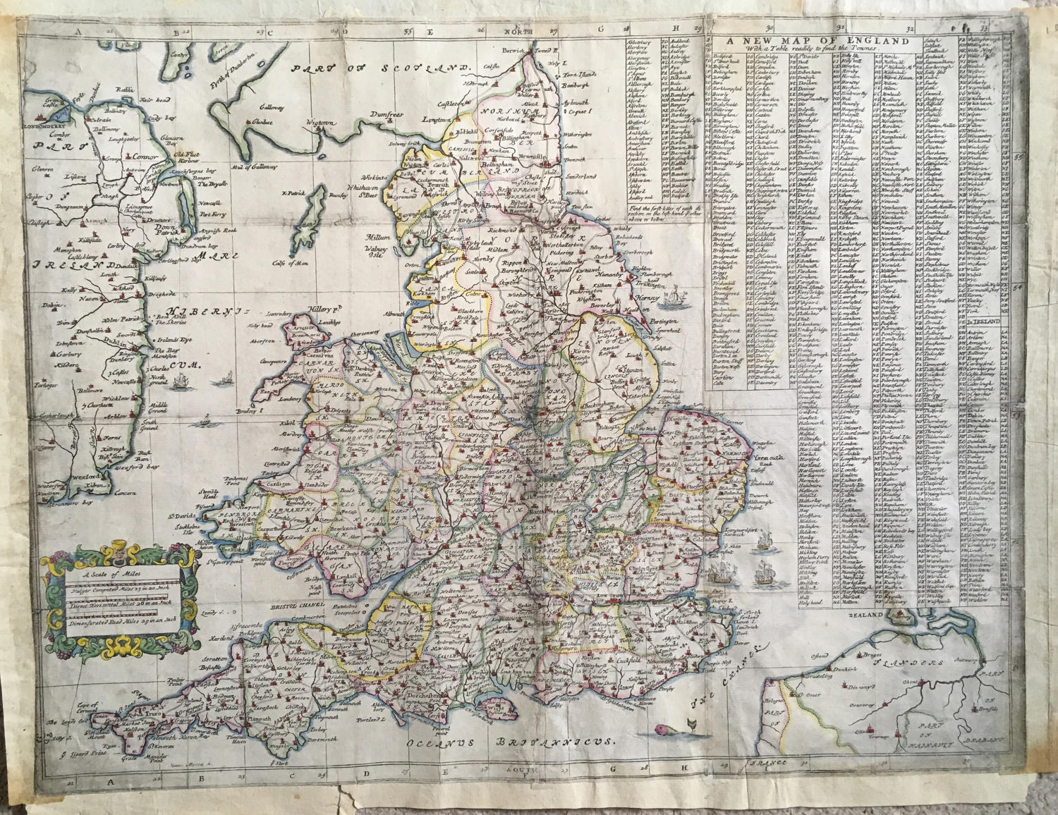 Ogilby -  ' New Map of England with a table t