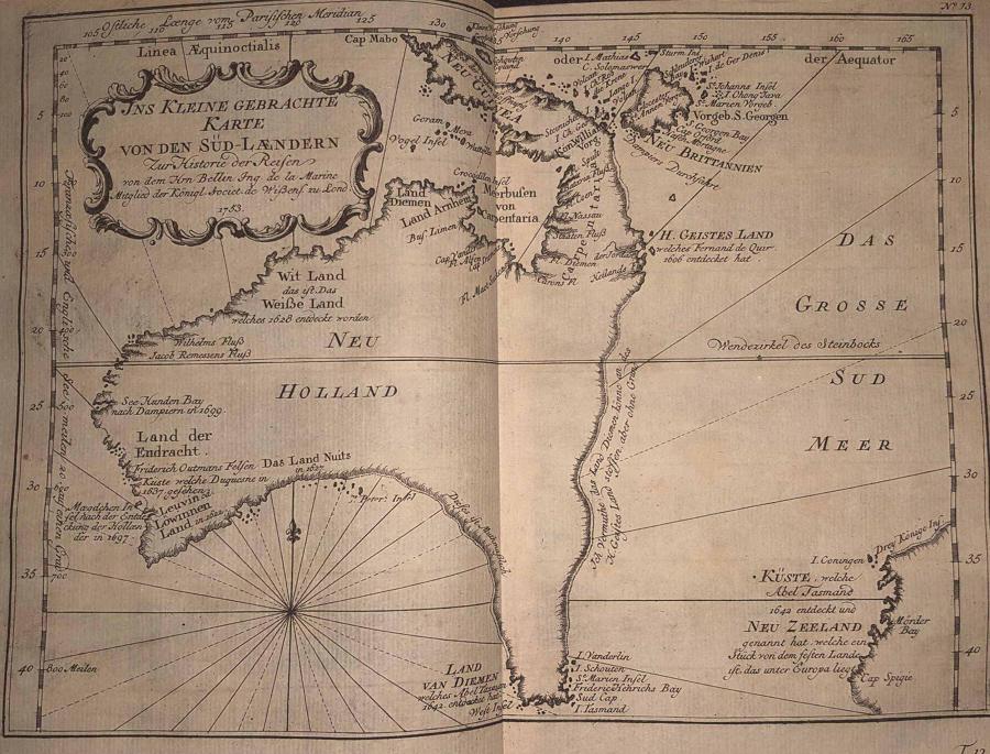 Bellin - Ins Kleine Gebrachte Karte von den Süd-Ländern
