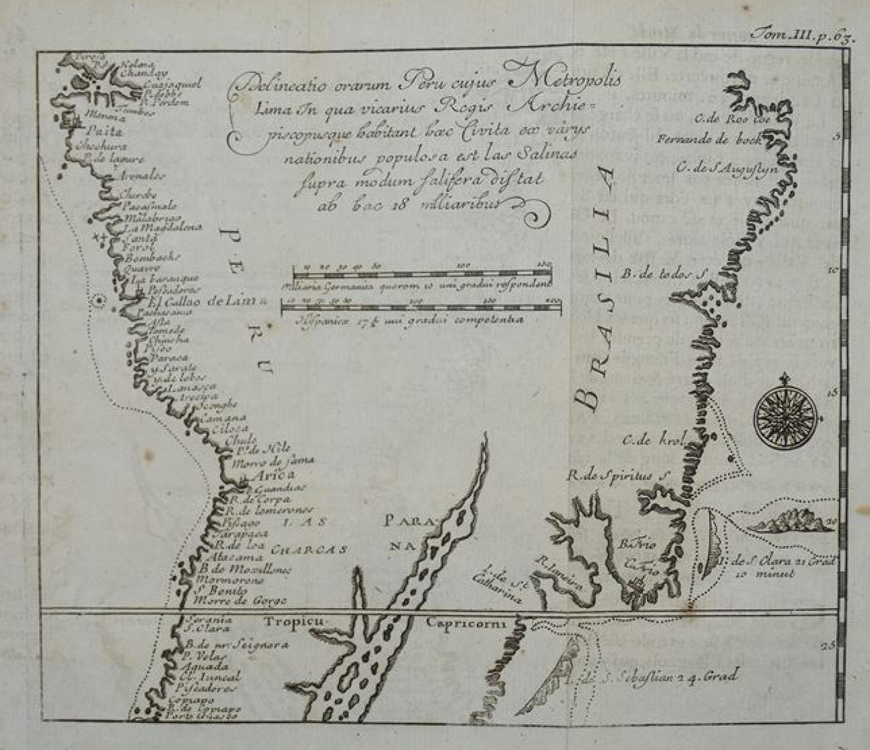 Renneville - (2 charts) Delineatio orarum Peru and Fretum Magellanicum