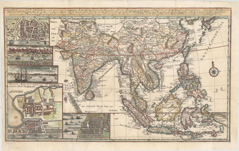 Herman Moll -Charte von Ost-Indien und den Angraentzenden Laendern